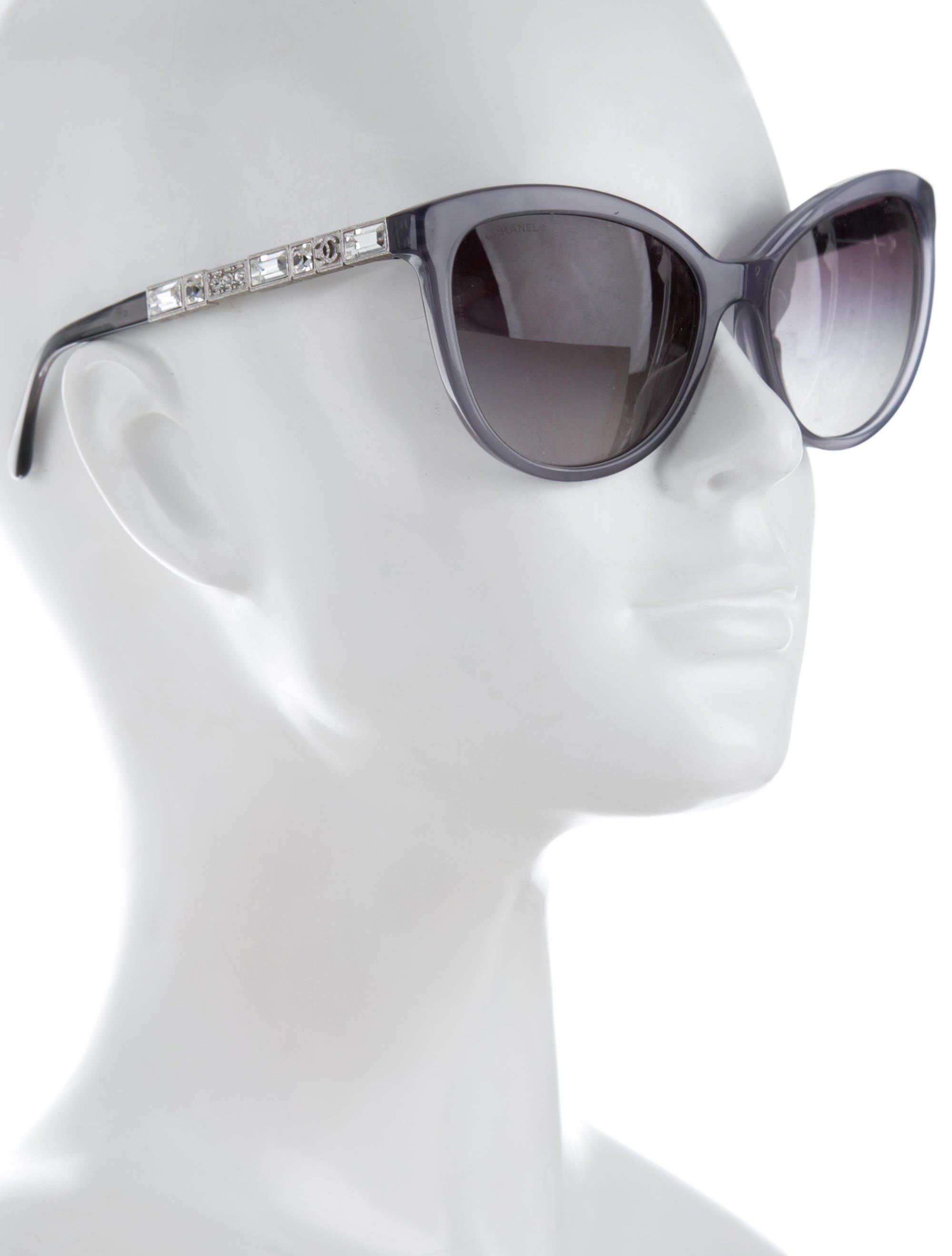 dcf33c7e65 Lyst - Chanel Bijou Cat-eye Sunglasses Grey in Gray