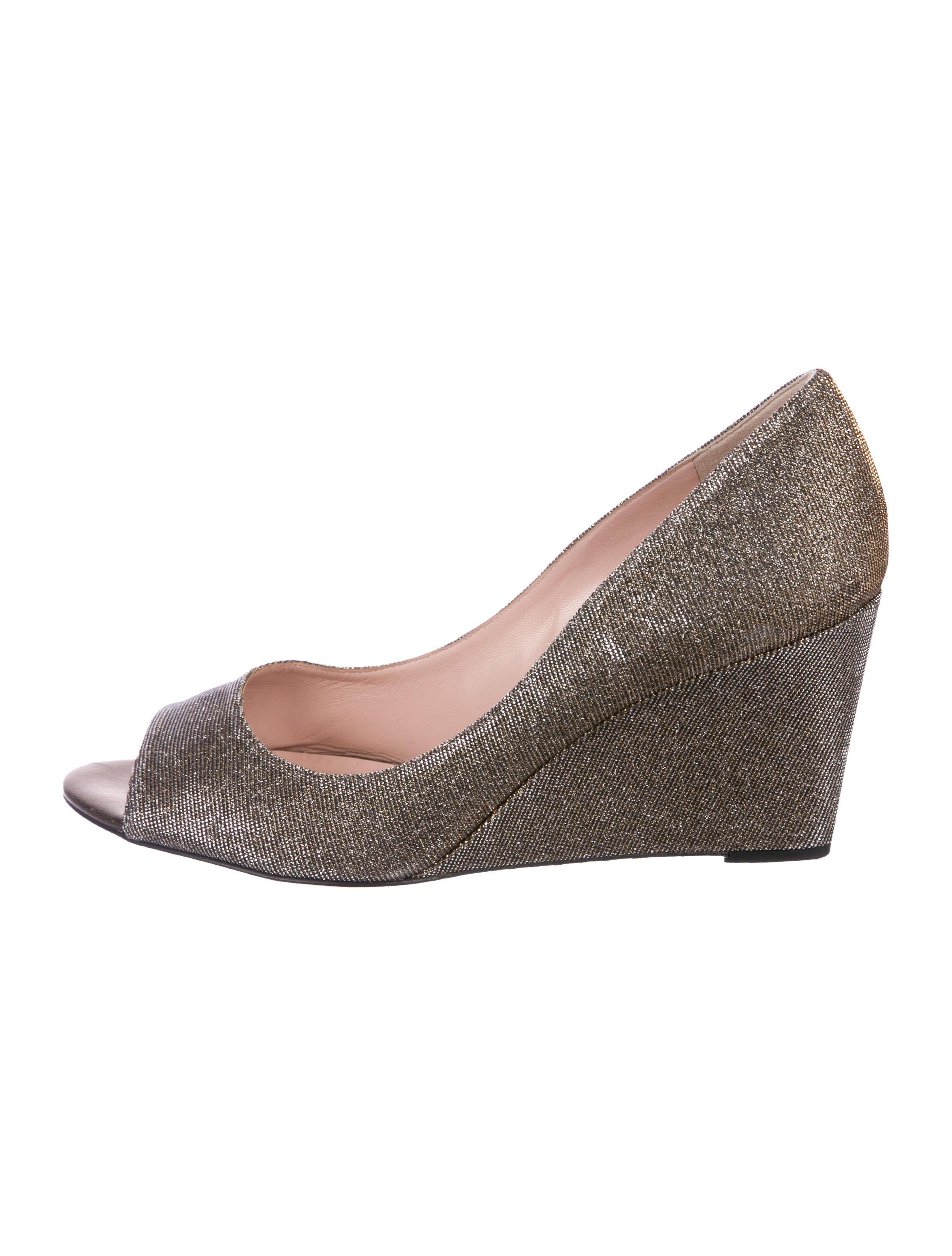 20a87bf2e7c9 Lyst - Kate Spade Glitter Canvas Wedges in Metallic