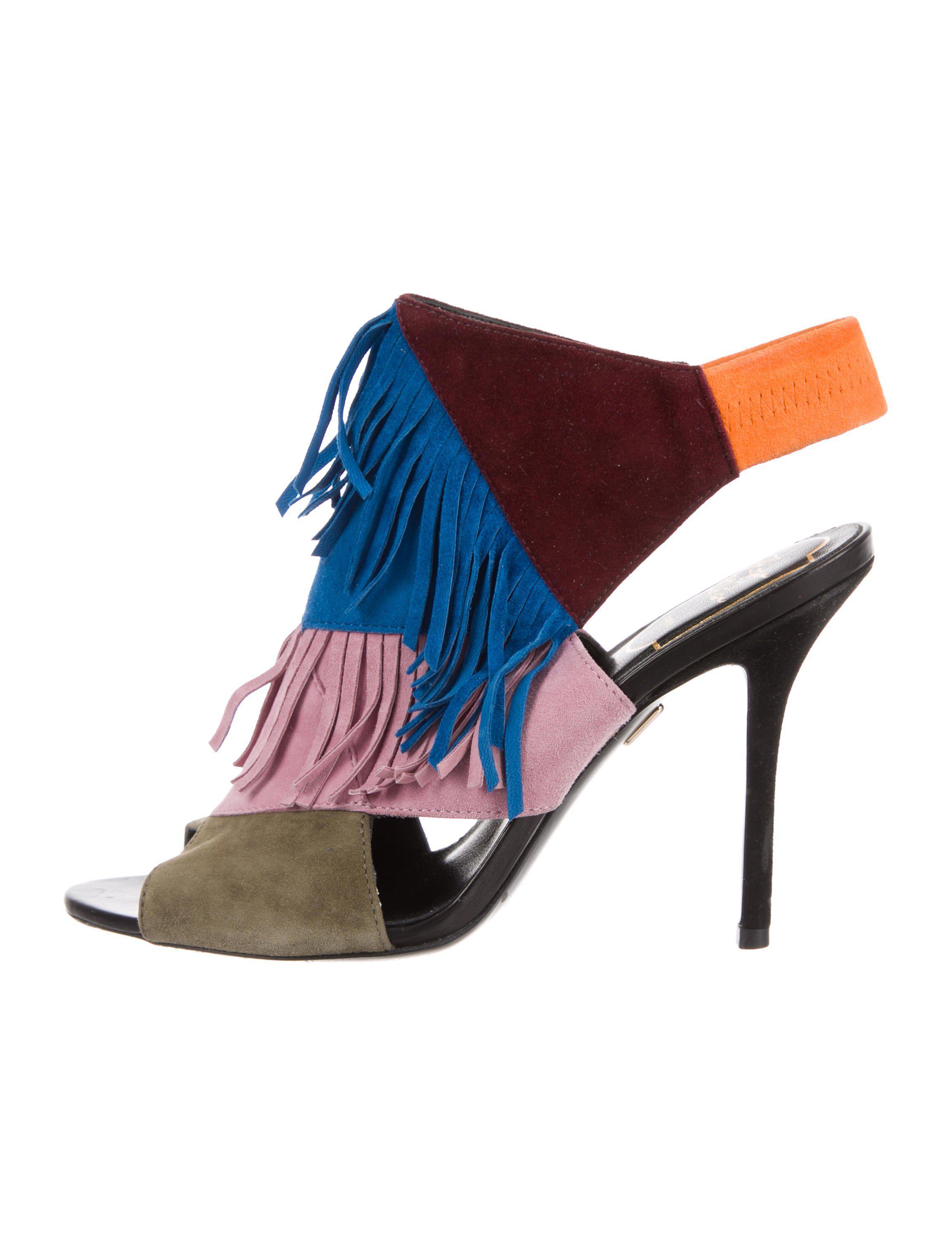 Roger Vivier. Women's Green Fringe Cutout Sandals Olive