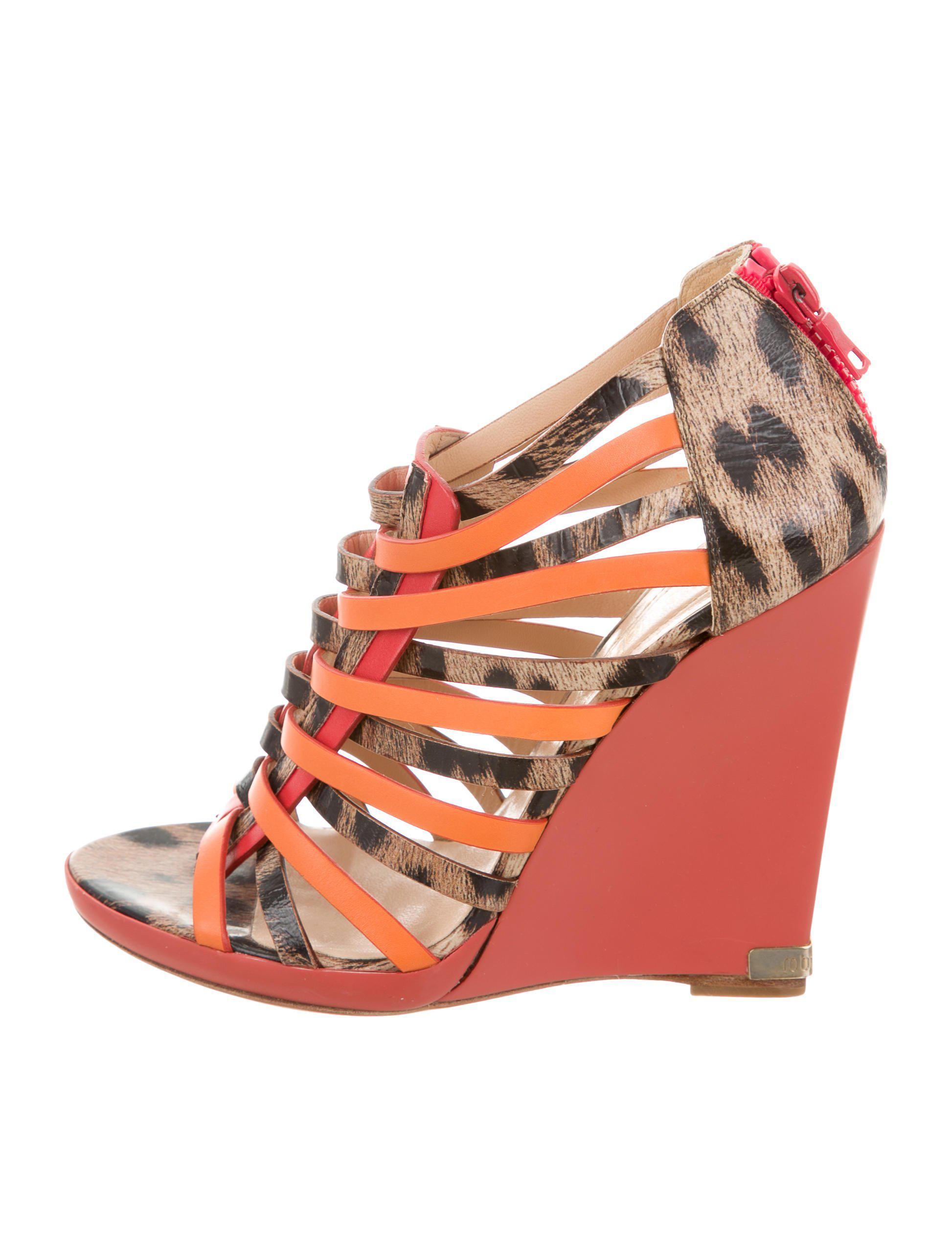 60cdc54b171d Lyst - Roberto Cavalli Animal Print Gladiator Wedges Tan in Natural