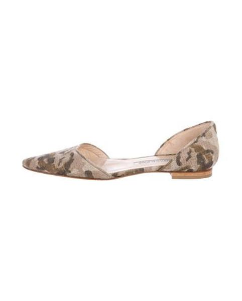 f10ab2ffd Lyst - Manolo Blahnik Camouflage D'orsay Flats Beige in Natural