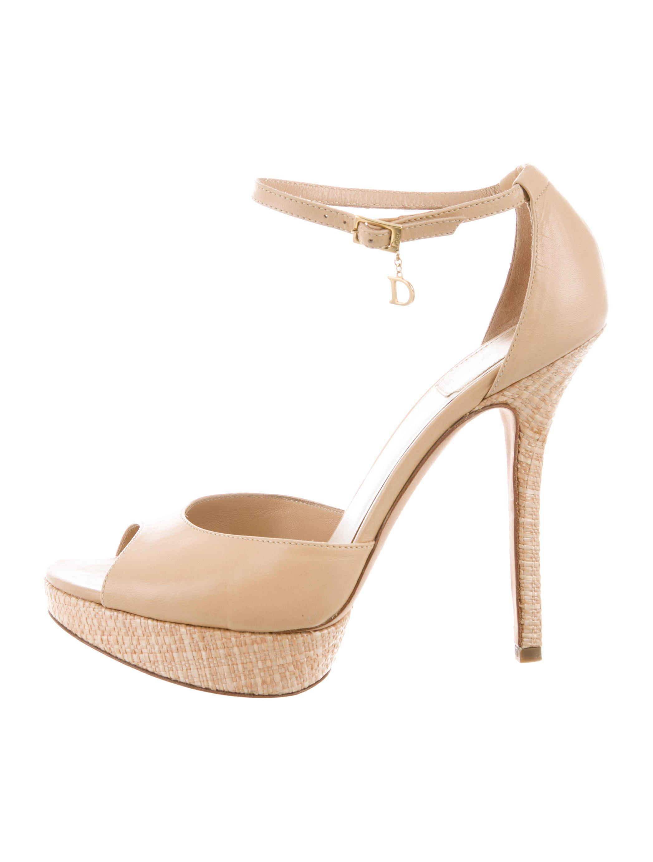 5a12742171b Lyst - Dior Platform Peep-toe Pumps Neutrals in Natural