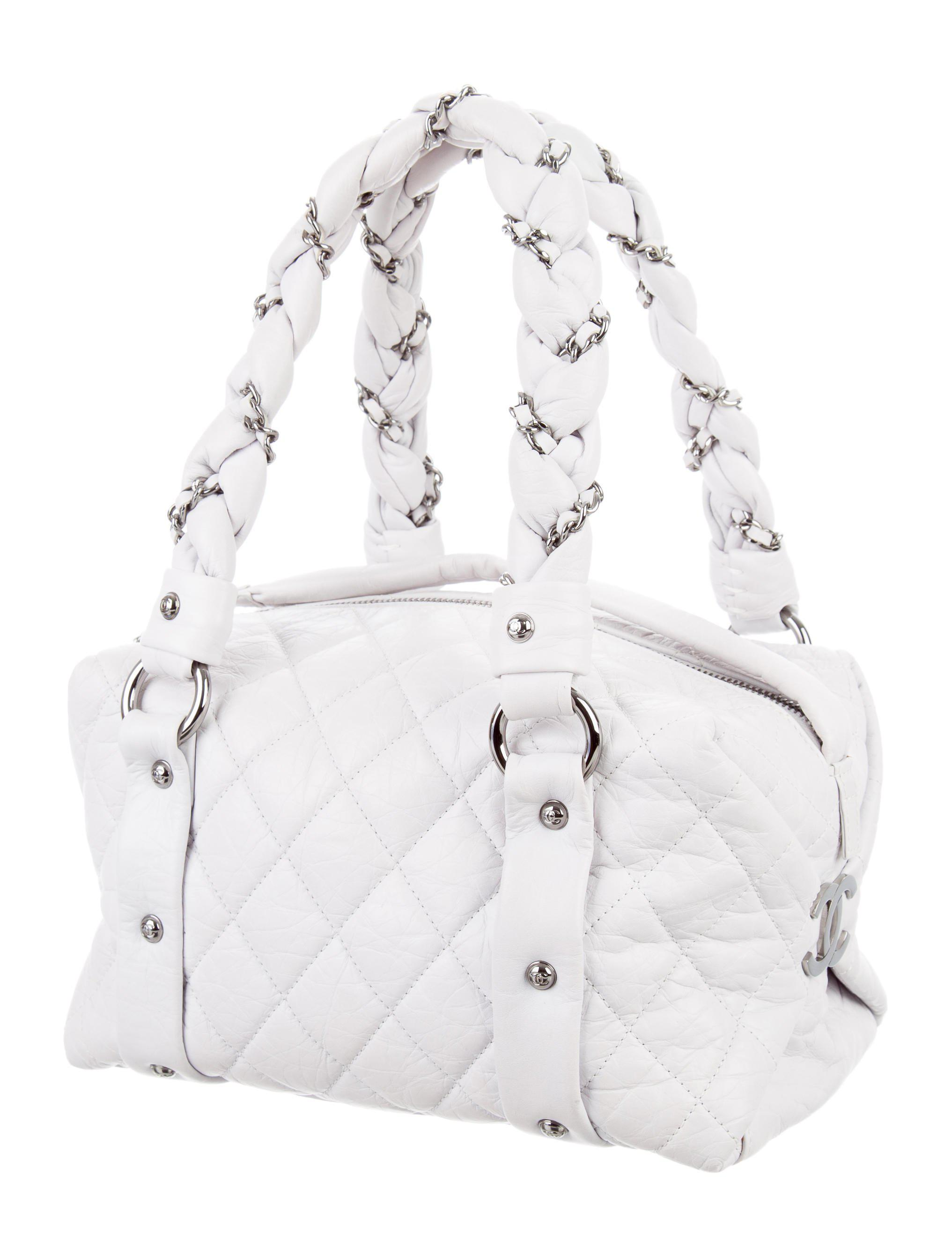 Lyst - Chanel Small Lady Braid Bowler Bag White in Metallic f24c6316968da