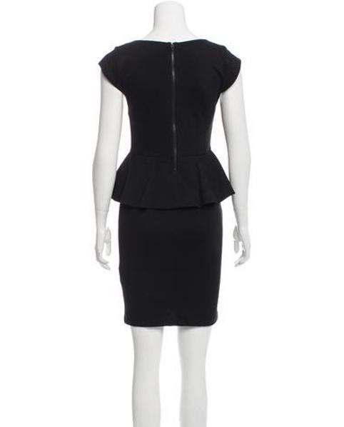 Lyst Alice Olivia Cap Sleeve Peplum Dress In Black