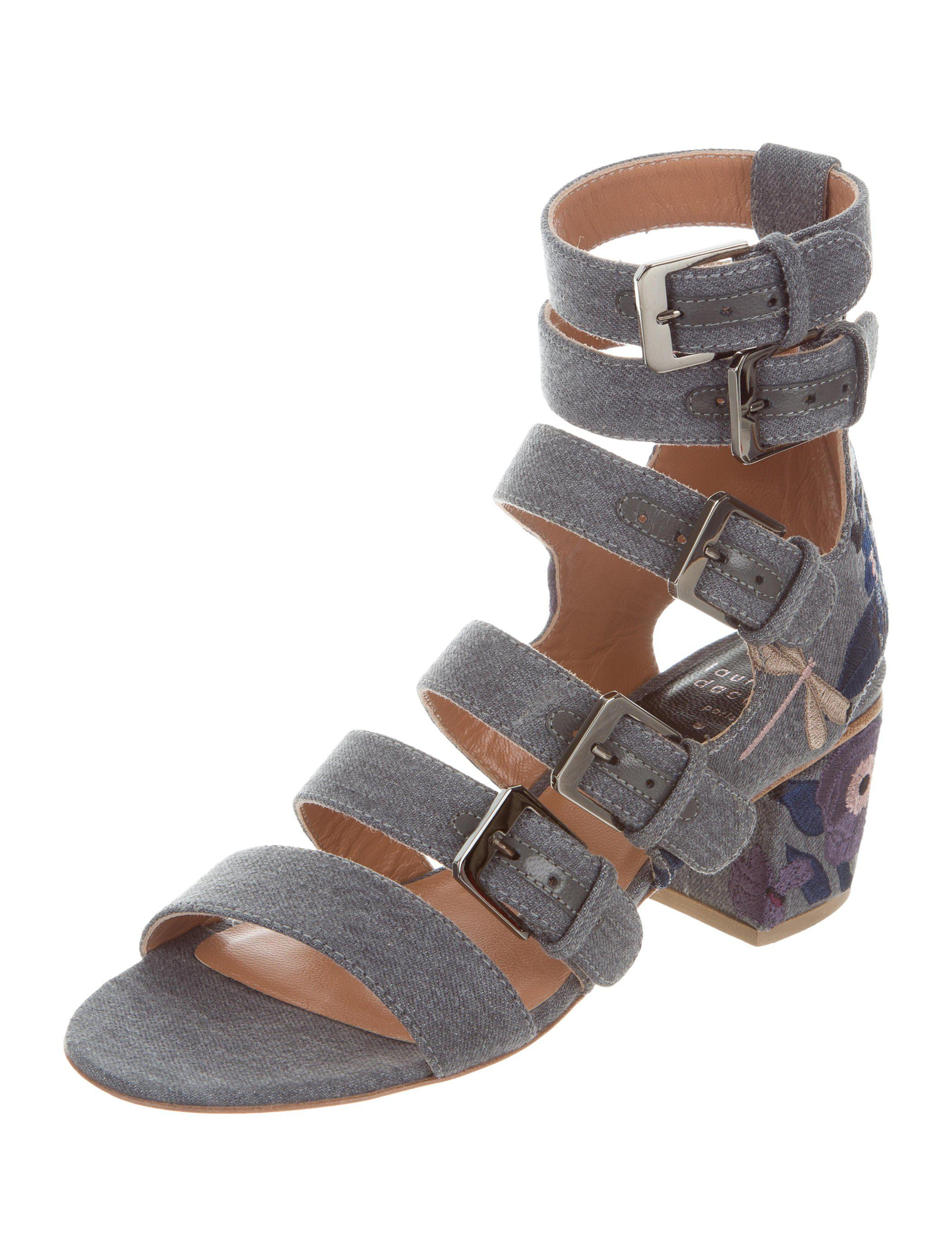 Laurence Dacade Floral-Embroidered Buckle Sandals w/ Tags quality from china cheap BwX3iFcM