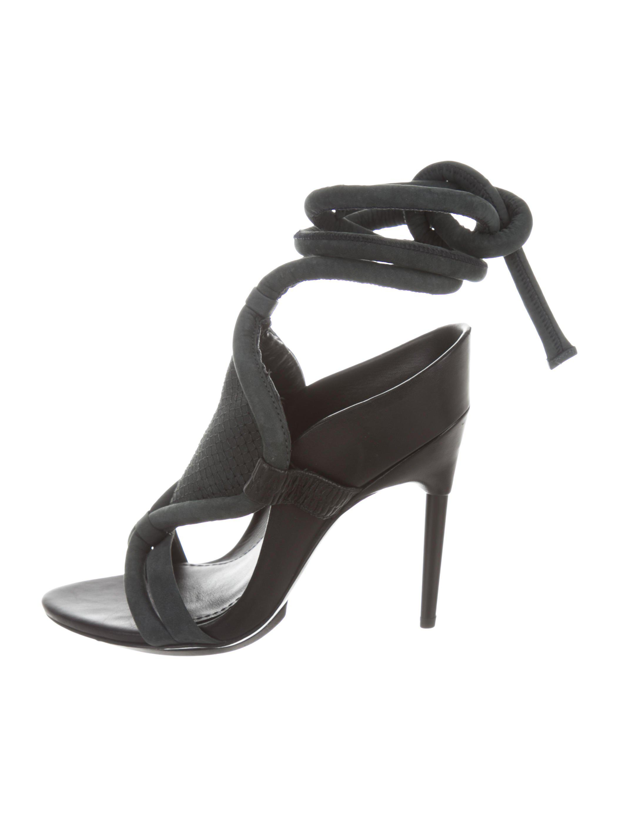 b0051526a72e Lyst - 3.1 Phillip Lim Suede Lace-tie Sandals in Black