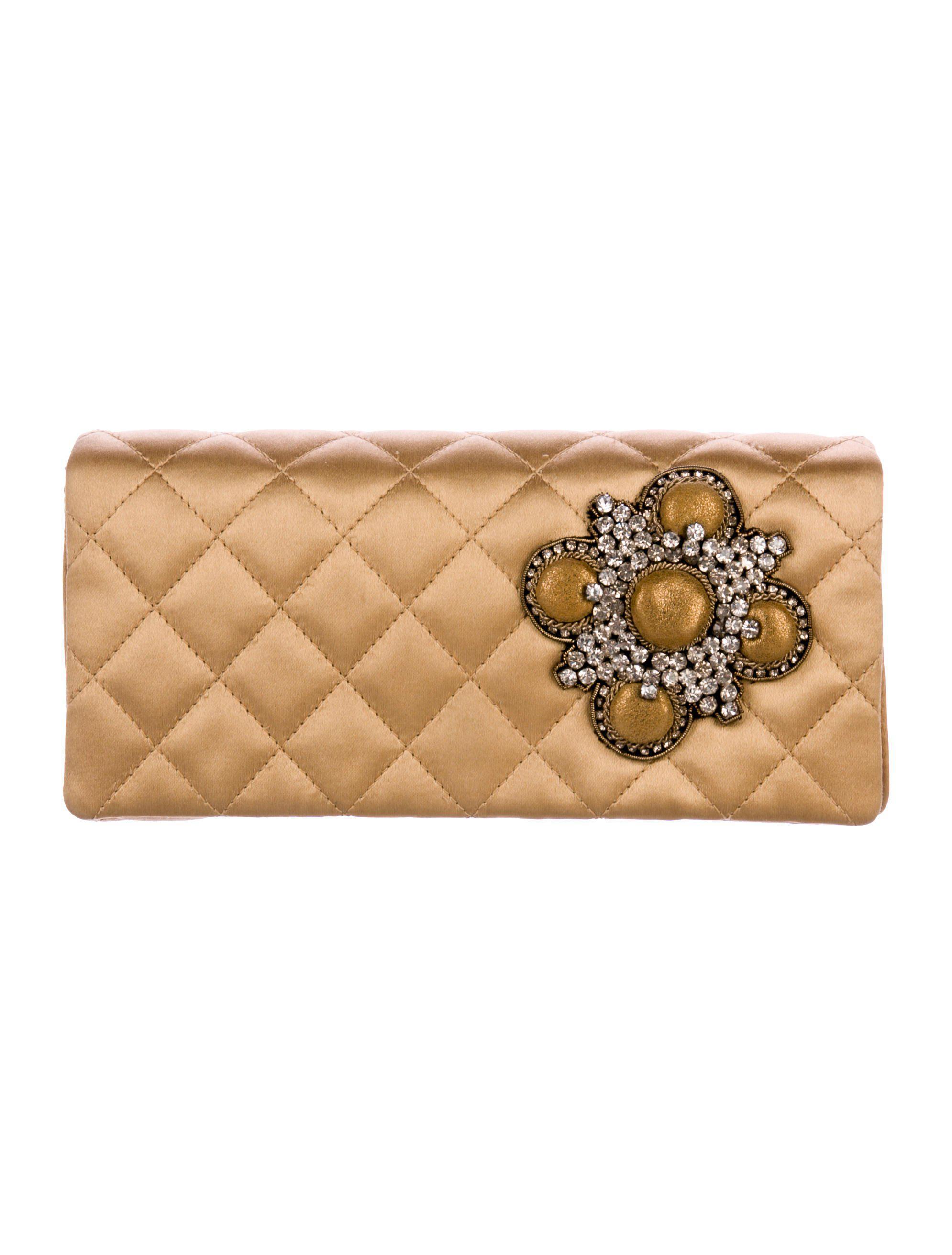 66b7008362c0 Lyst - Chanel Embellished Satin Clutch Gold in Metallic