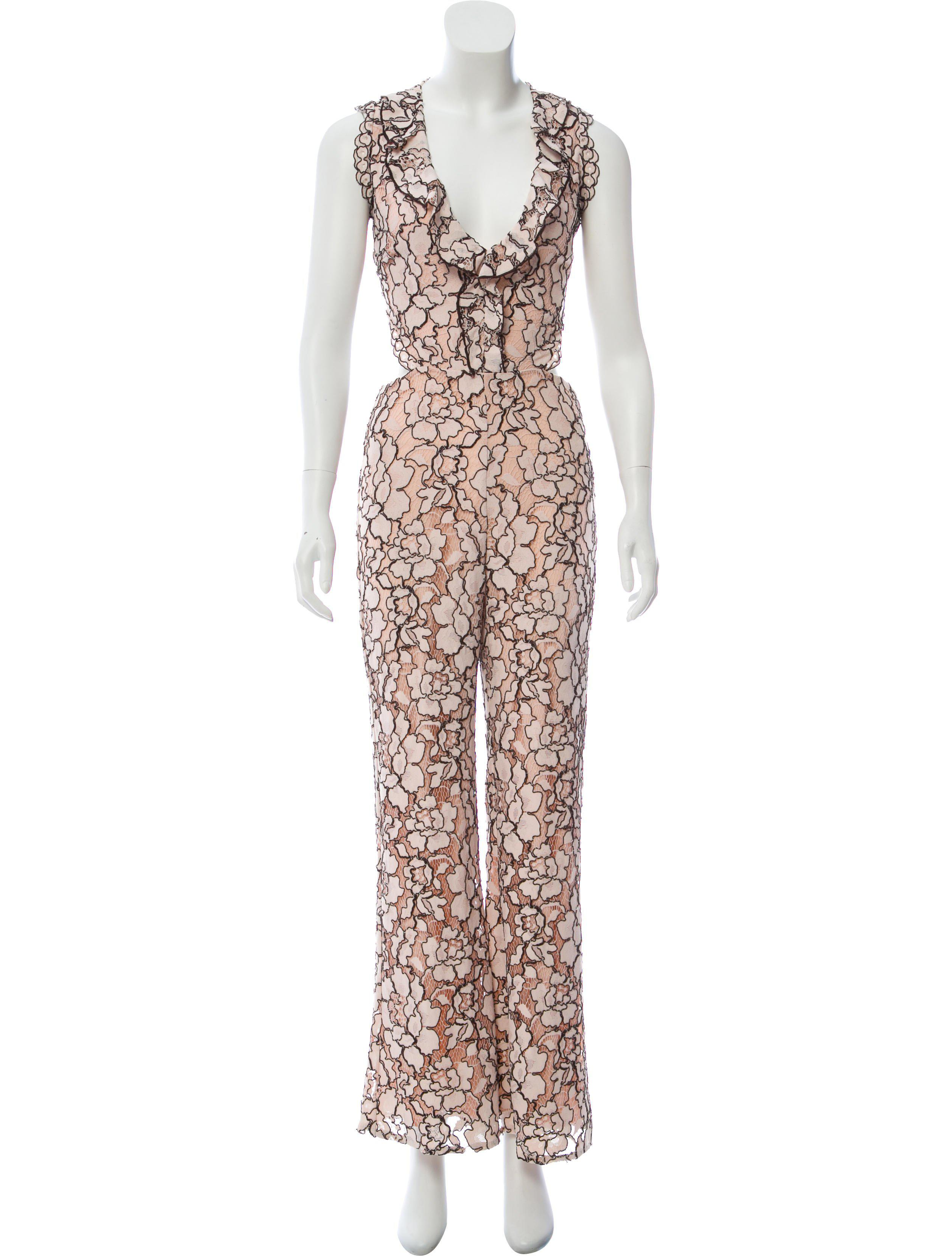 db93436e7bdc Lyst - Alexis Lace Wide-leg Jumpsuit in Pink
