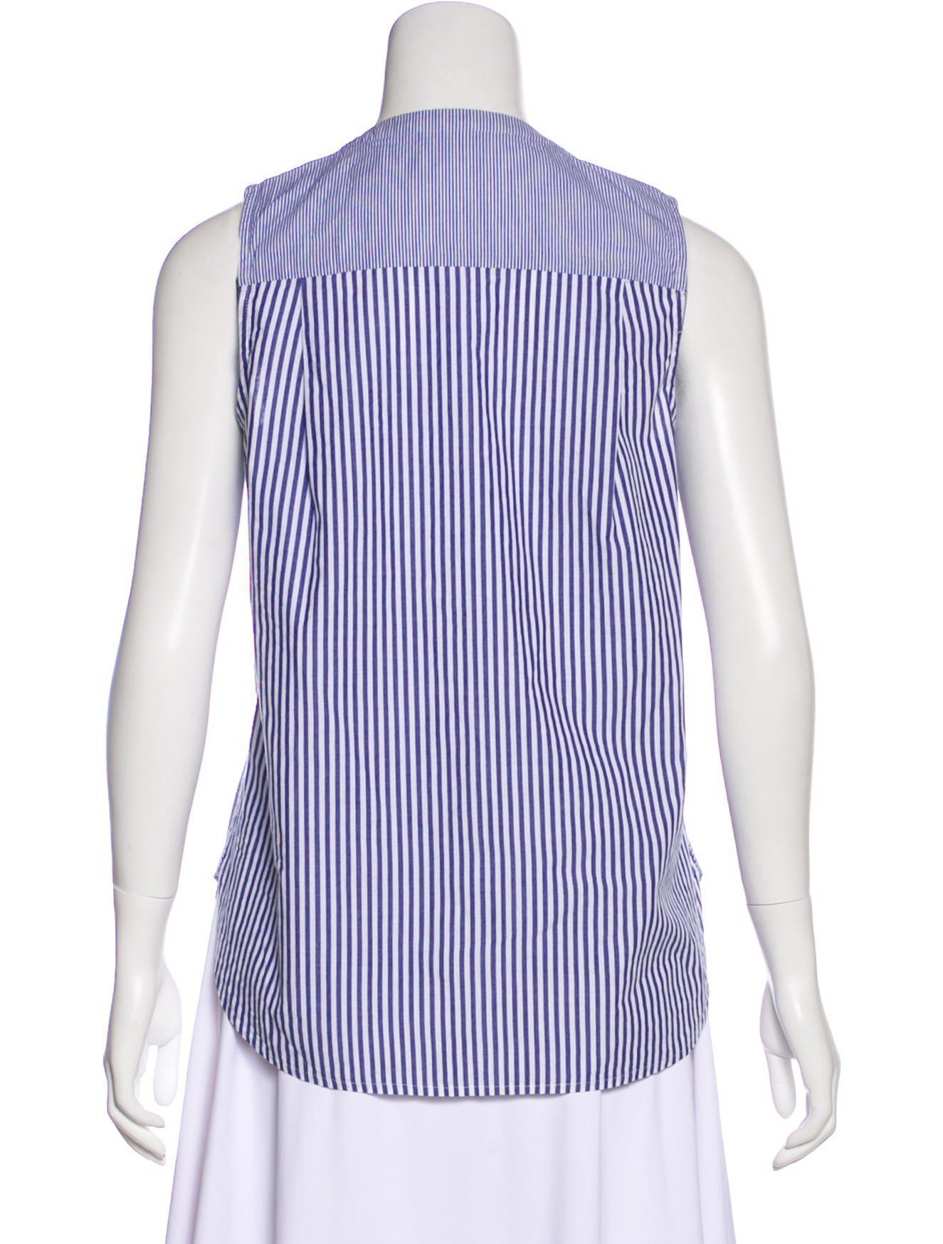 9f6e792db4f7d Lyst - Derek Lam 10 Crosby Striped Sleeveless Top in Blue