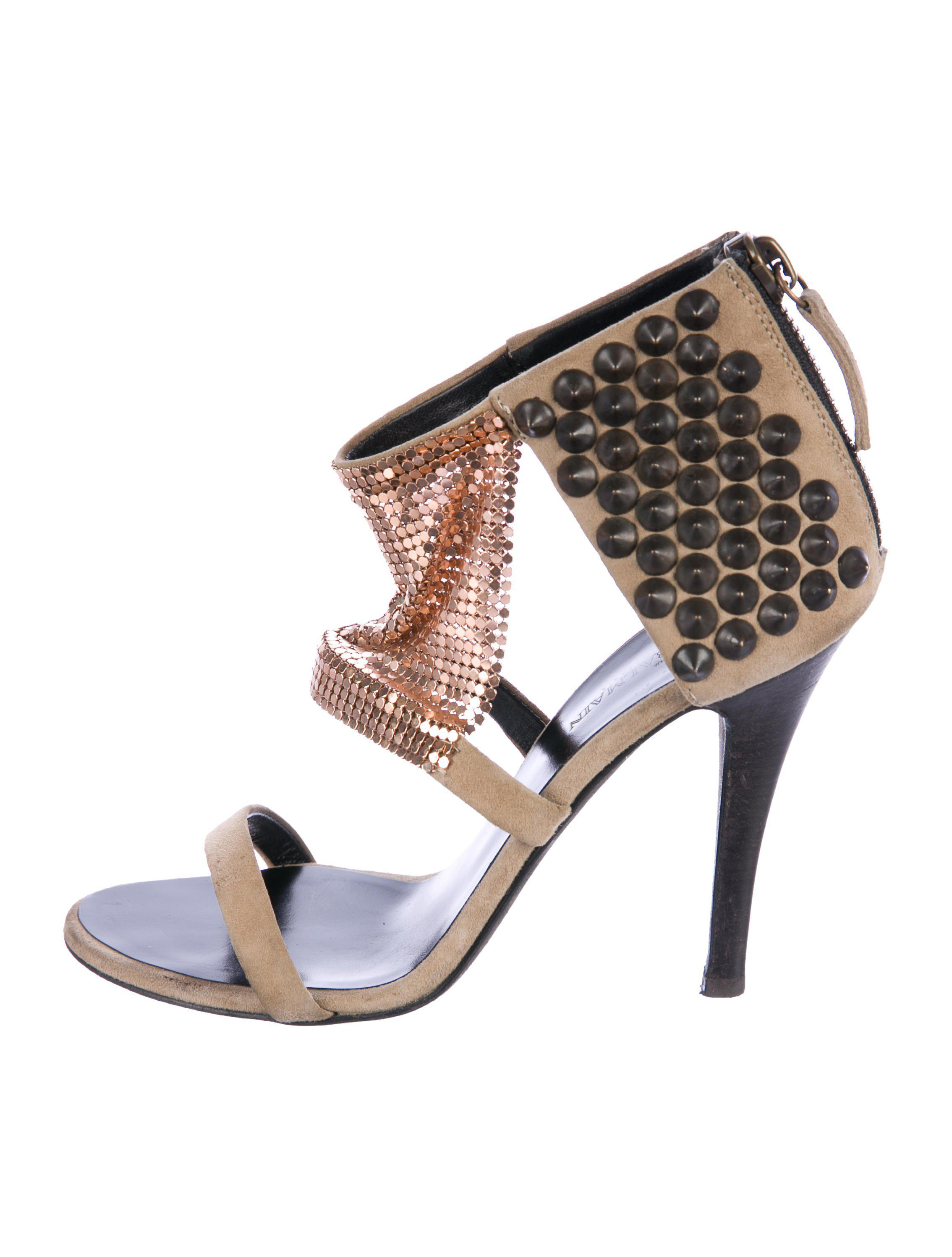 Balmain Suede Embellished Sandals huge surprise sale online outlet deals official cheap price outlet from china 0Kaae9