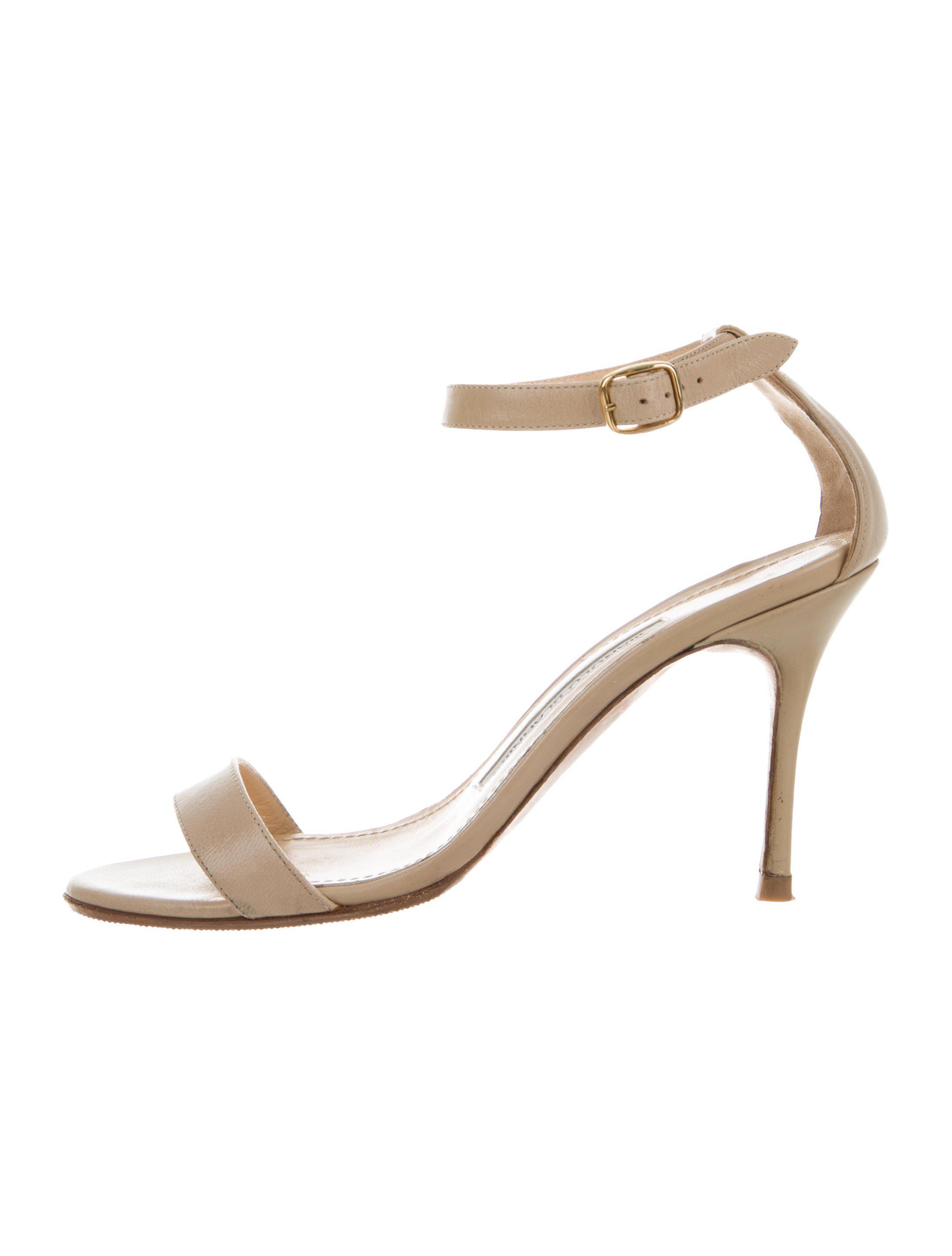 5090f63159b Lyst - Manolo Blahnik Mid-heel Strap Sandals Tan in Metallic