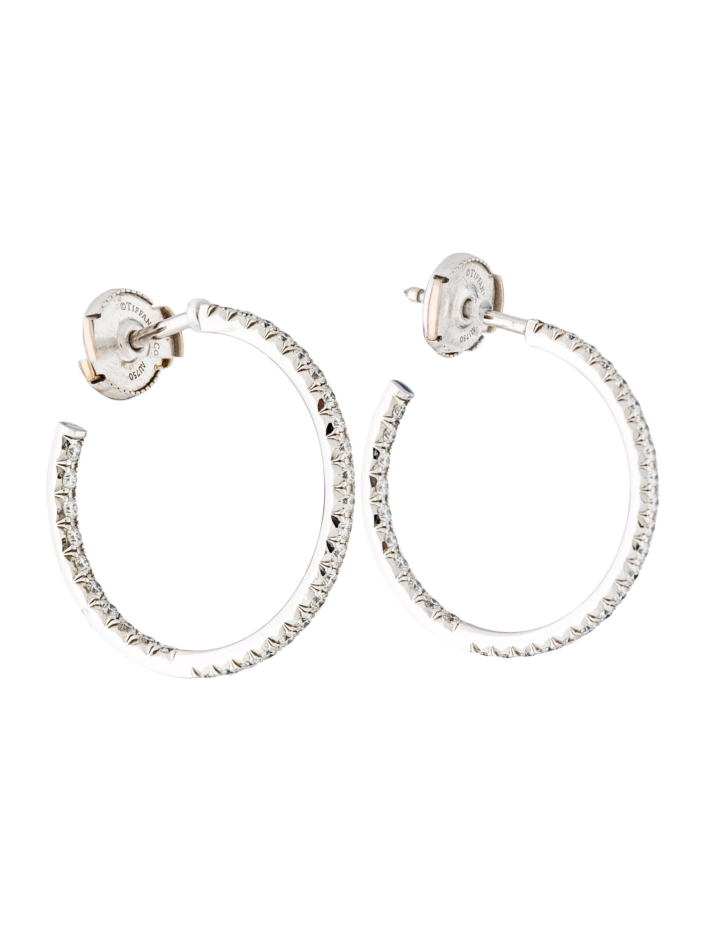 Tiffany Co Women S Metallic 18k Diamond Inside Out Hoop Earrings White