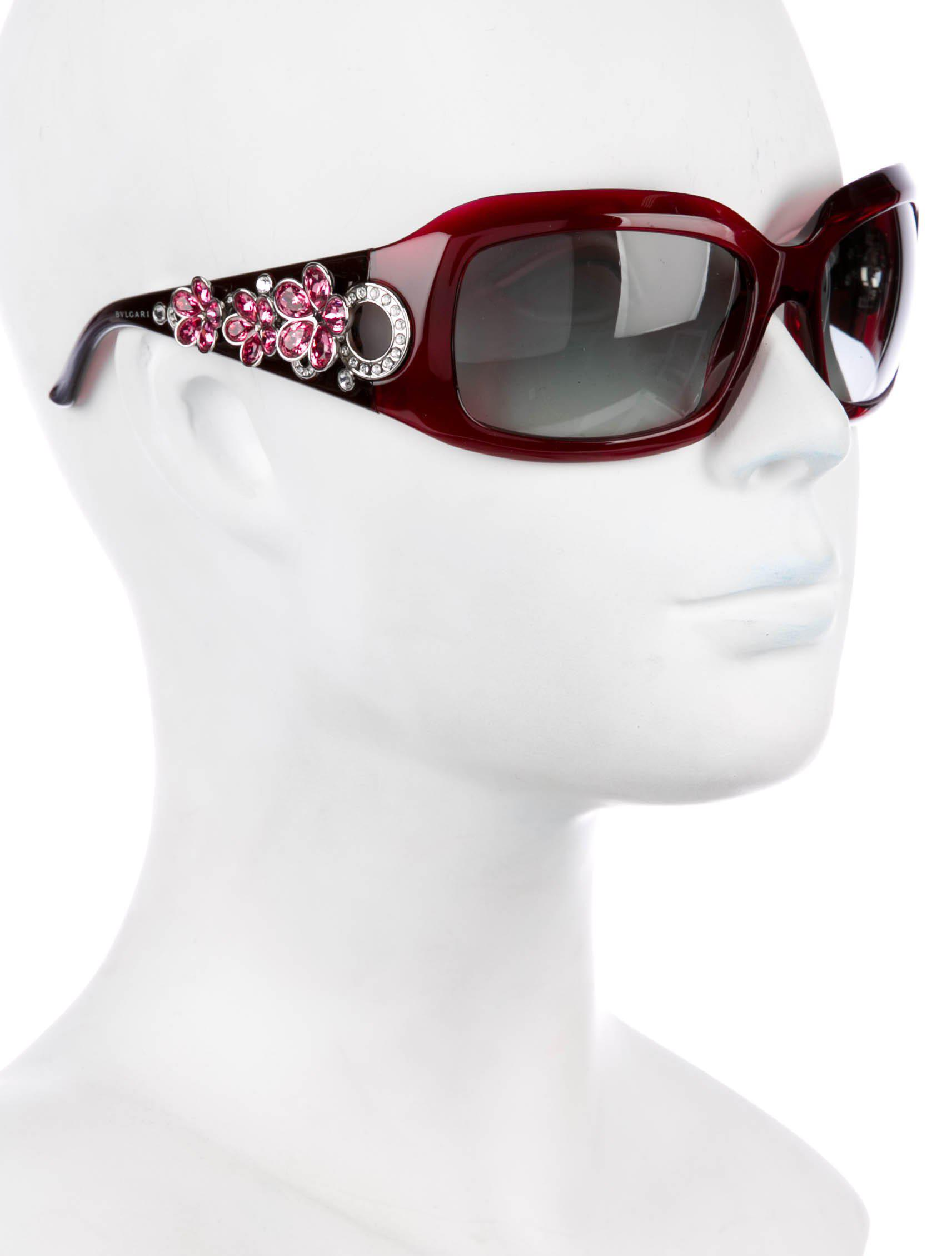 Lyst - Bvlgari Crystal Flower Sunglasses in Pink