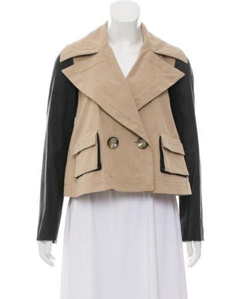 f9d7d608e35 Lyst - Rachel Zoe Contrast-trimmed Crop Jacket in Brown