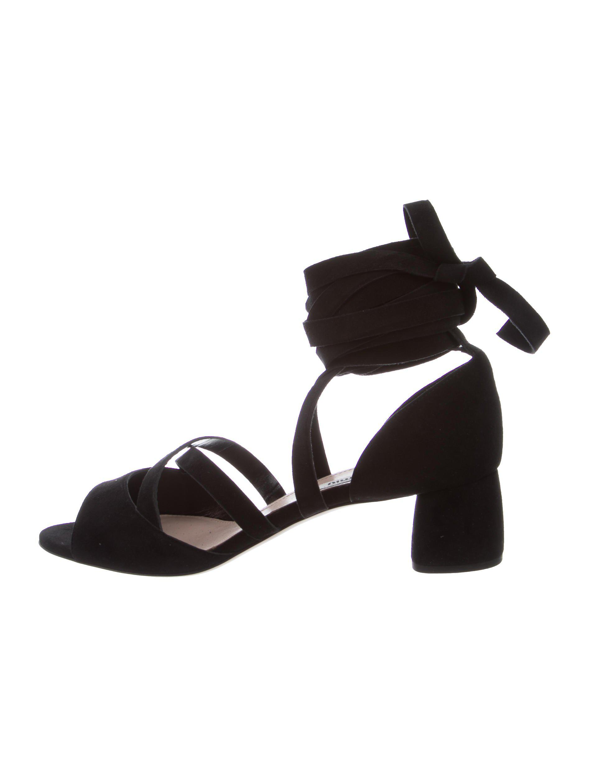 buy cheap prices popular cheap price Miu Miu Leather Lace-Up Sandals w/ Tags cheap release dates LHElI0uluz