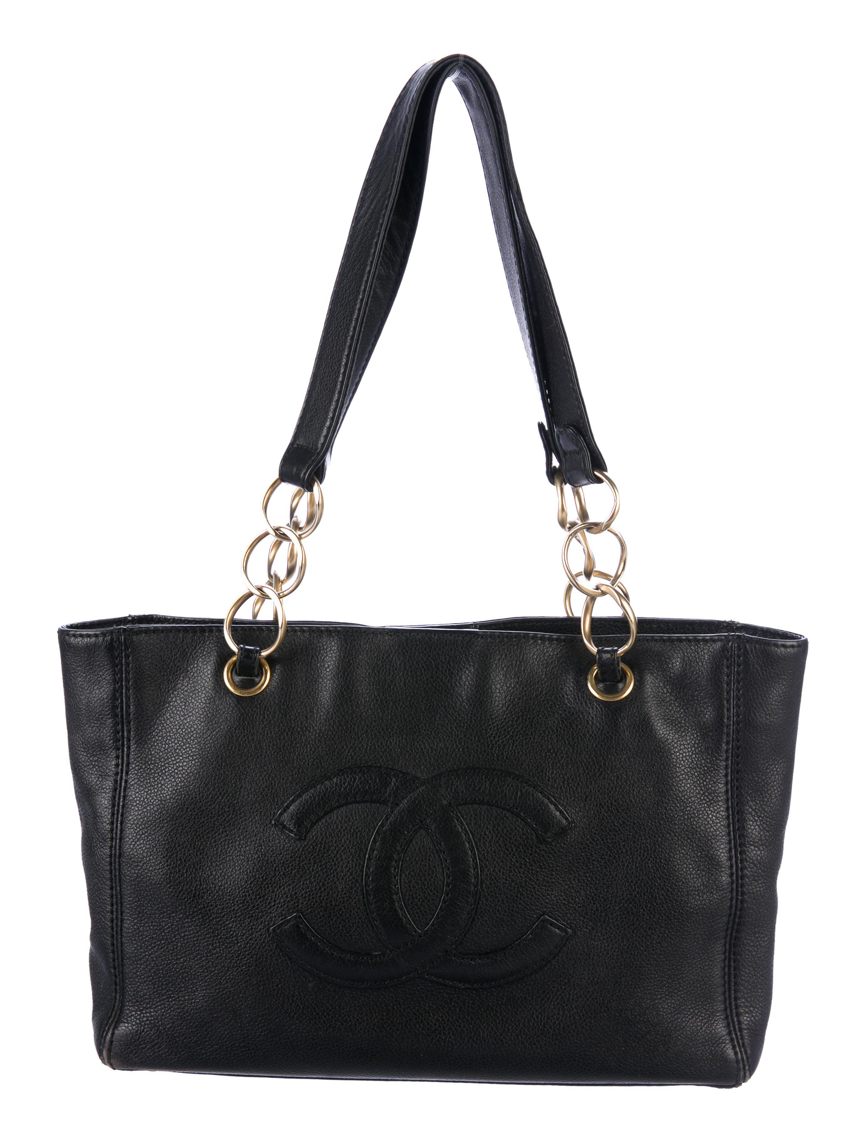 c0d0b5a492a4 Lyst - Chanel Leather Cc Tote Black in Metallic