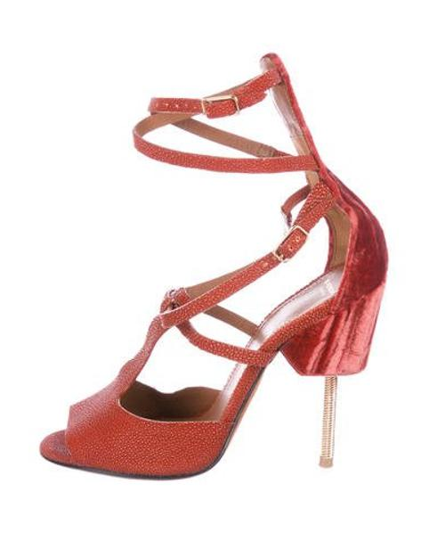 3c8c751a113 Lyst - Givenchy Lizard Ankle Strap Sandals Orange in Metallic