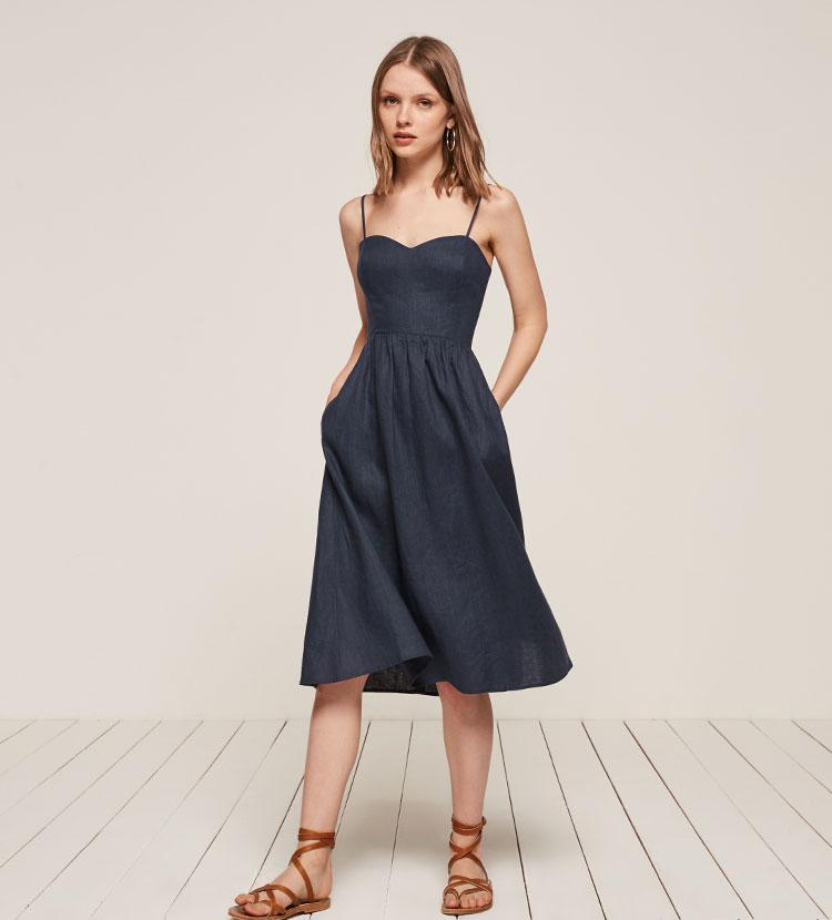 4b93a220c64 Lyst - Reformation Olivia Dress in Blue
