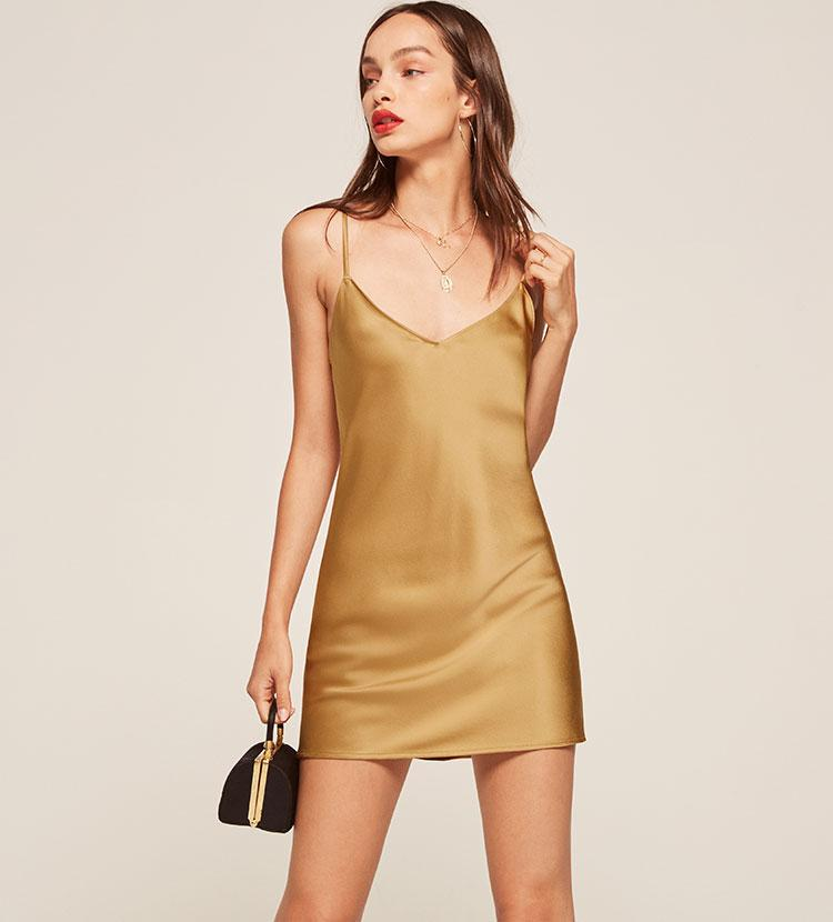 cb89f2eecea5 Reformation Cher Dress in Metallic - Lyst
