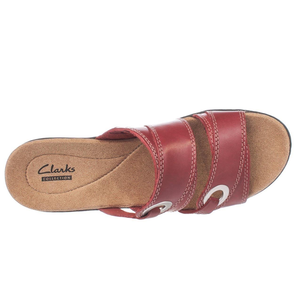 Clarks Hayla Acadia Slide Sandals In Red Lyst