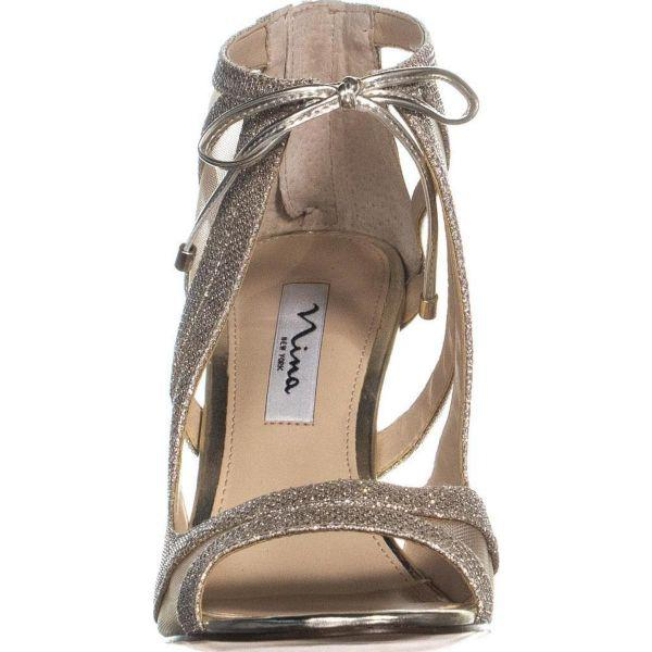 65b141478f3062 Nina - Metallic Cherie Strappy Mesh Tie Peep Toe Dress Sandals - Lyst. View  fullscreen