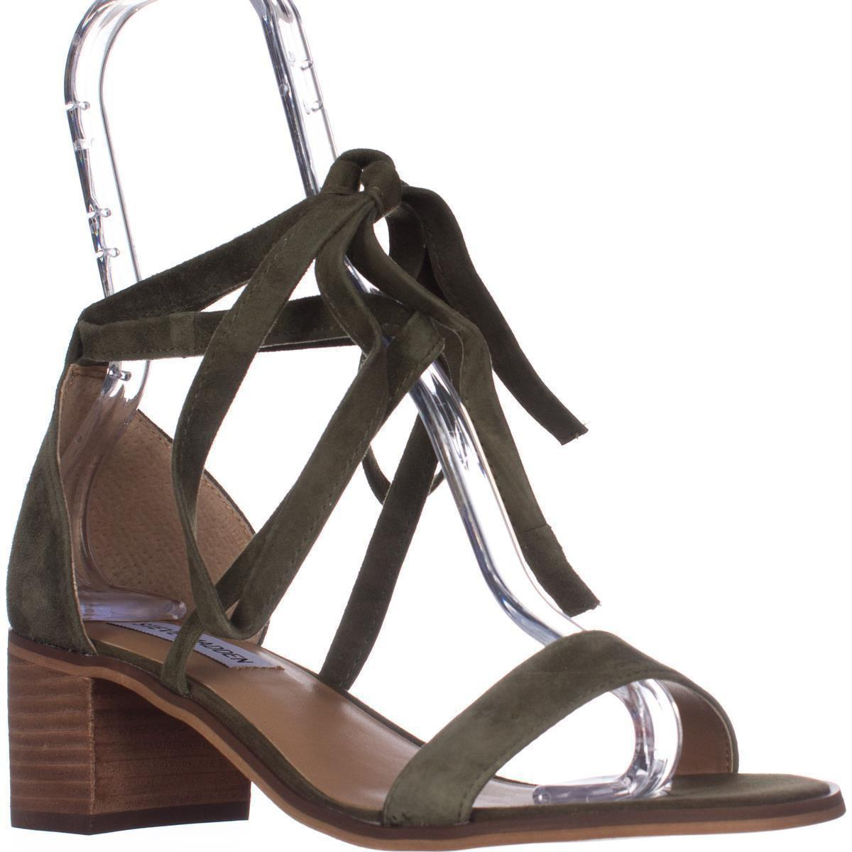 a4c42c6e993 Steve Madden Rizzaa Lace Up Ankle Strap Sandals in Green - Lyst