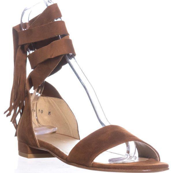 b3c11b615086 Lyst - Stuart Weitzman Corbata Lace Up Flat Sandals in Brown - Save ...