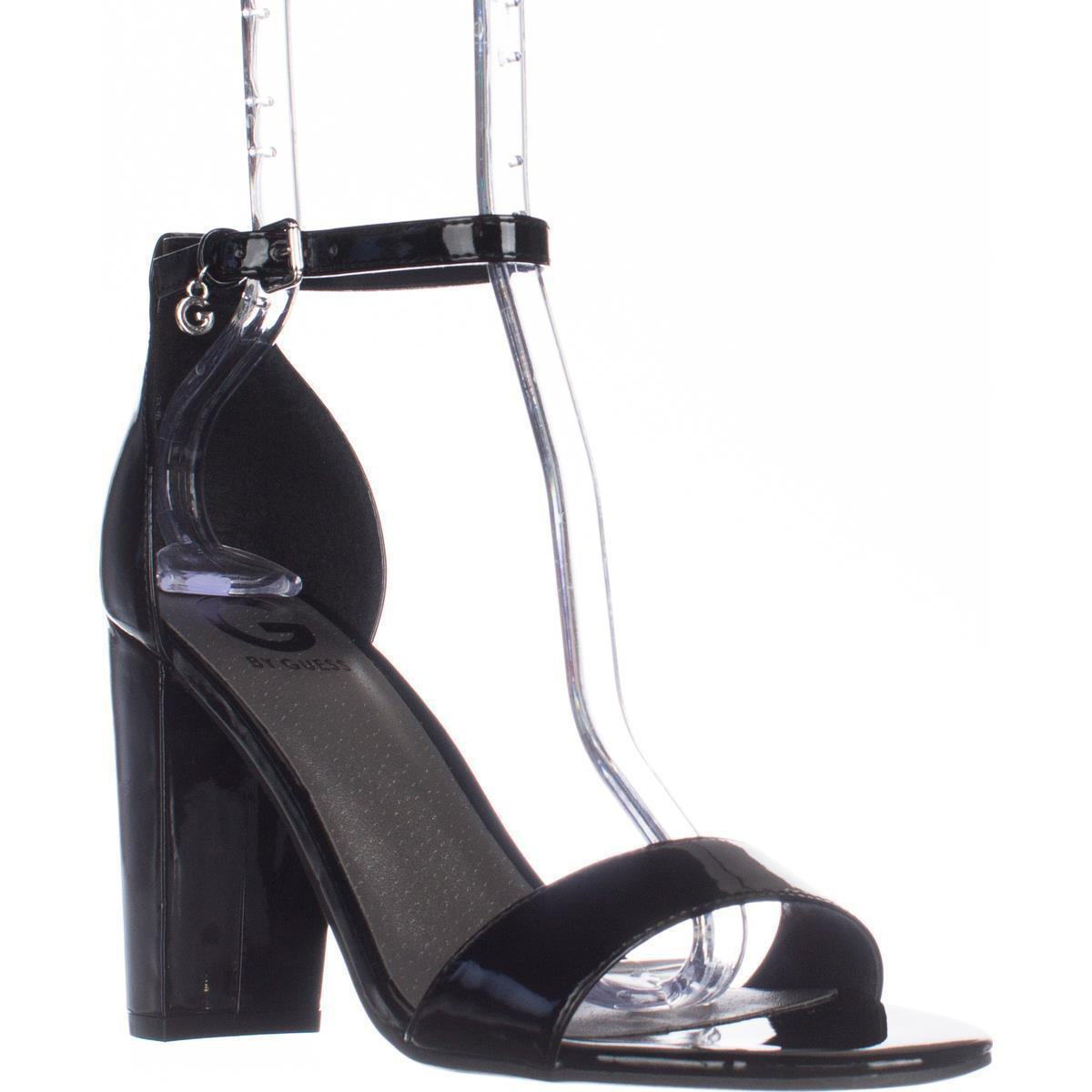 01546a1b9542c7 Lyst - Guess G Shantel3 Ankle Strap Block Heel Sandals in Black