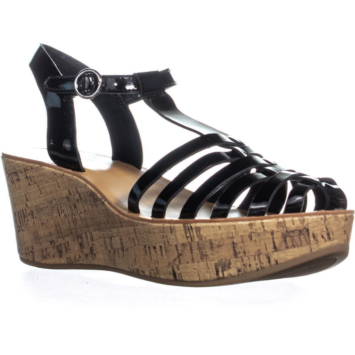 20de79be17facc Guess G By Yezmin Wedge Strappy Sandals in Black - Lyst