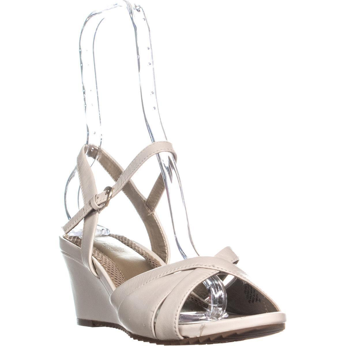 bb9a3cd5bb1 Lyst - Easy Spirit Laralee Peep Toe Ankle Strap Wedge Sandals in White