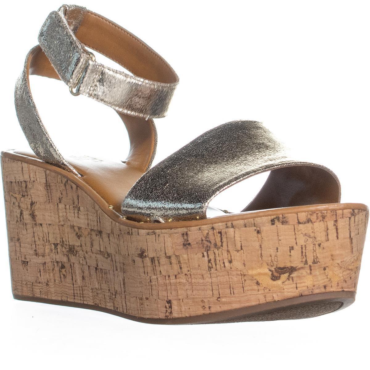 6f81df8e468 Franco Sarto Jovie Platform Wedge Sandals in Metallic - Lyst