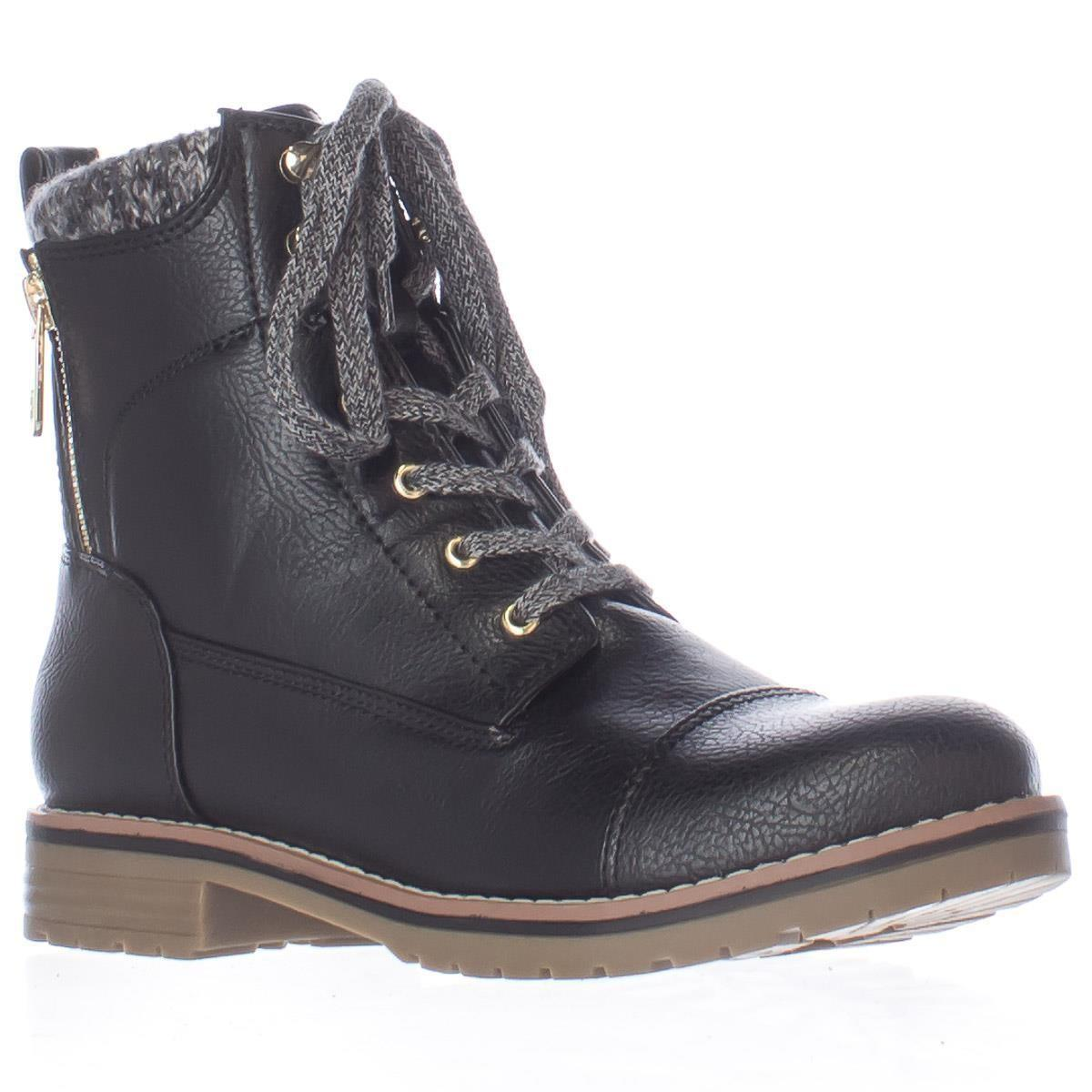 hilfiger omar2 knit top combat boots in black lyst