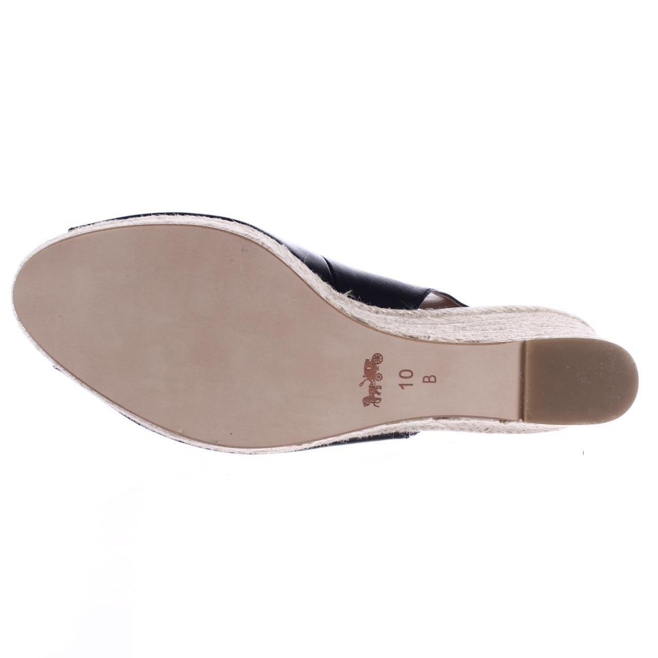 Coach Ferry Peep Toe Slingback Espadrille Wedge Sandals In