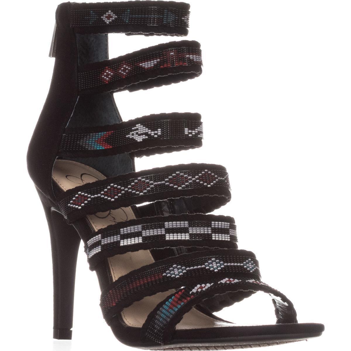 26ecfc953d Jessica Simpson Erienne Strappy Aztec Sandals in Black - Lyst