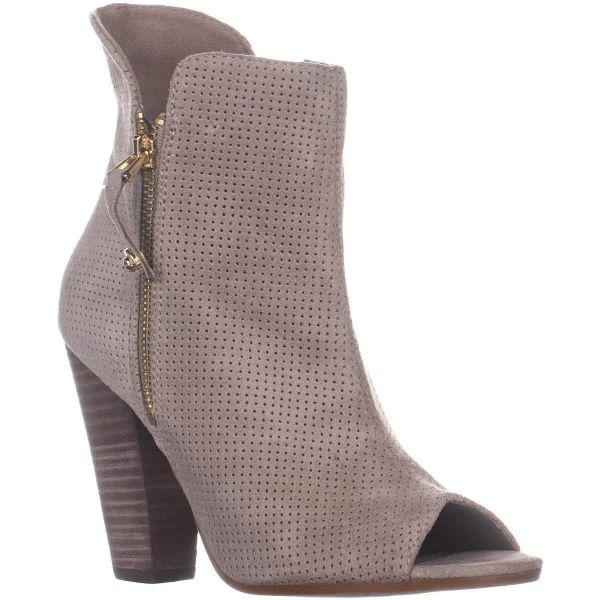 b88a986726f24 Lyst - Guess Bitki Peep Toe Perforated Ankle Boots in Natural