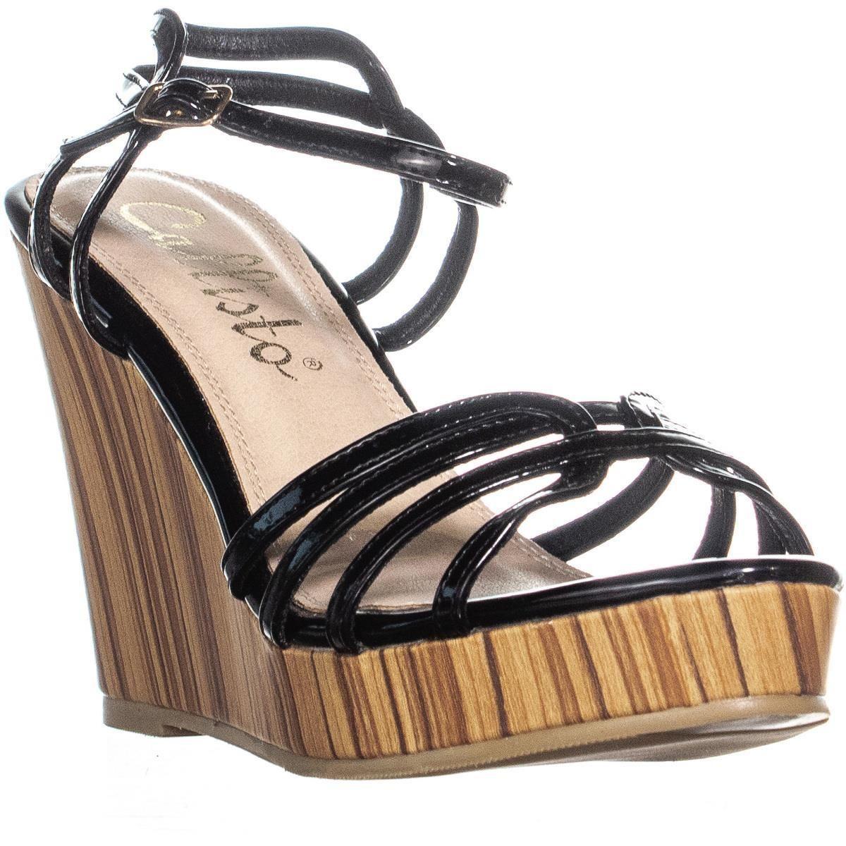 11bdc905fc3 Callisto - Black Brush Strappy Wedge Sandals - Lyst. View fullscreen