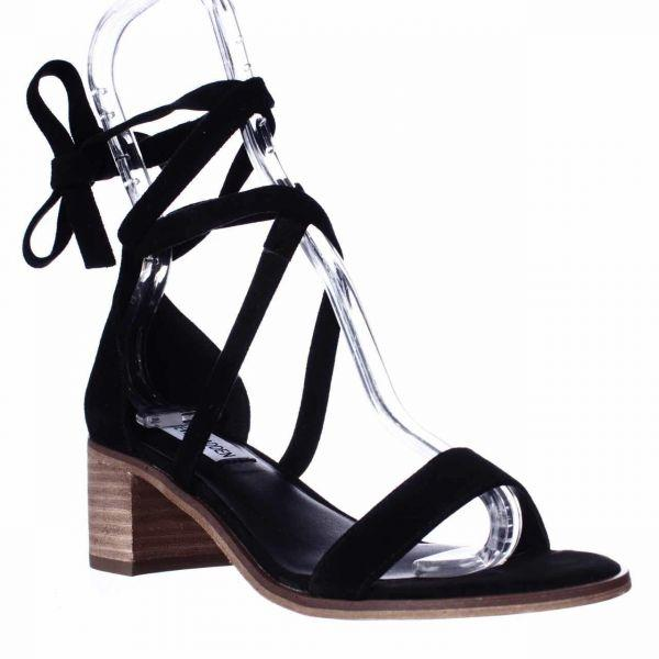 67548e96d19 Lyst - Steve Madden Rizzaa Lace Up Ankle Strap Sandals in Black ...