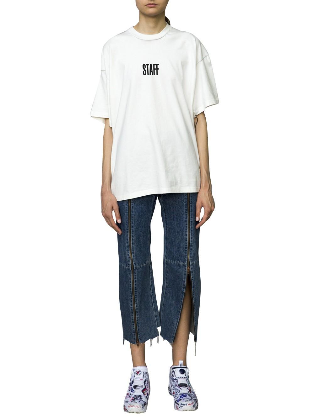 Vetements x hanes 39 staff 39 t shirt in white lyst for Vetements basic staff t shirt