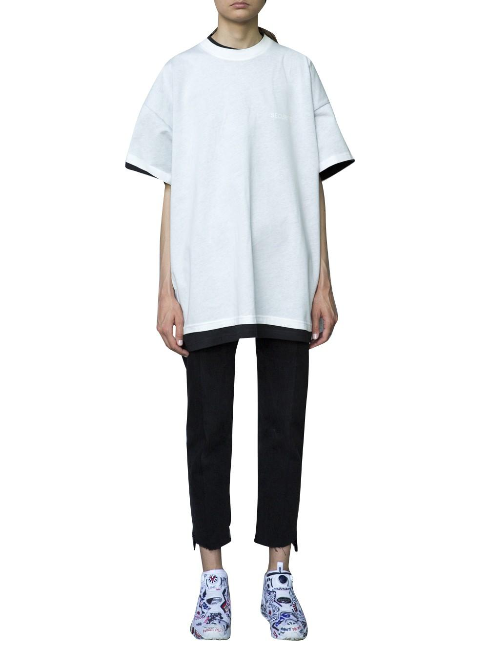 vetements vetments x hanes double t shirt in blue lyst. Black Bedroom Furniture Sets. Home Design Ideas