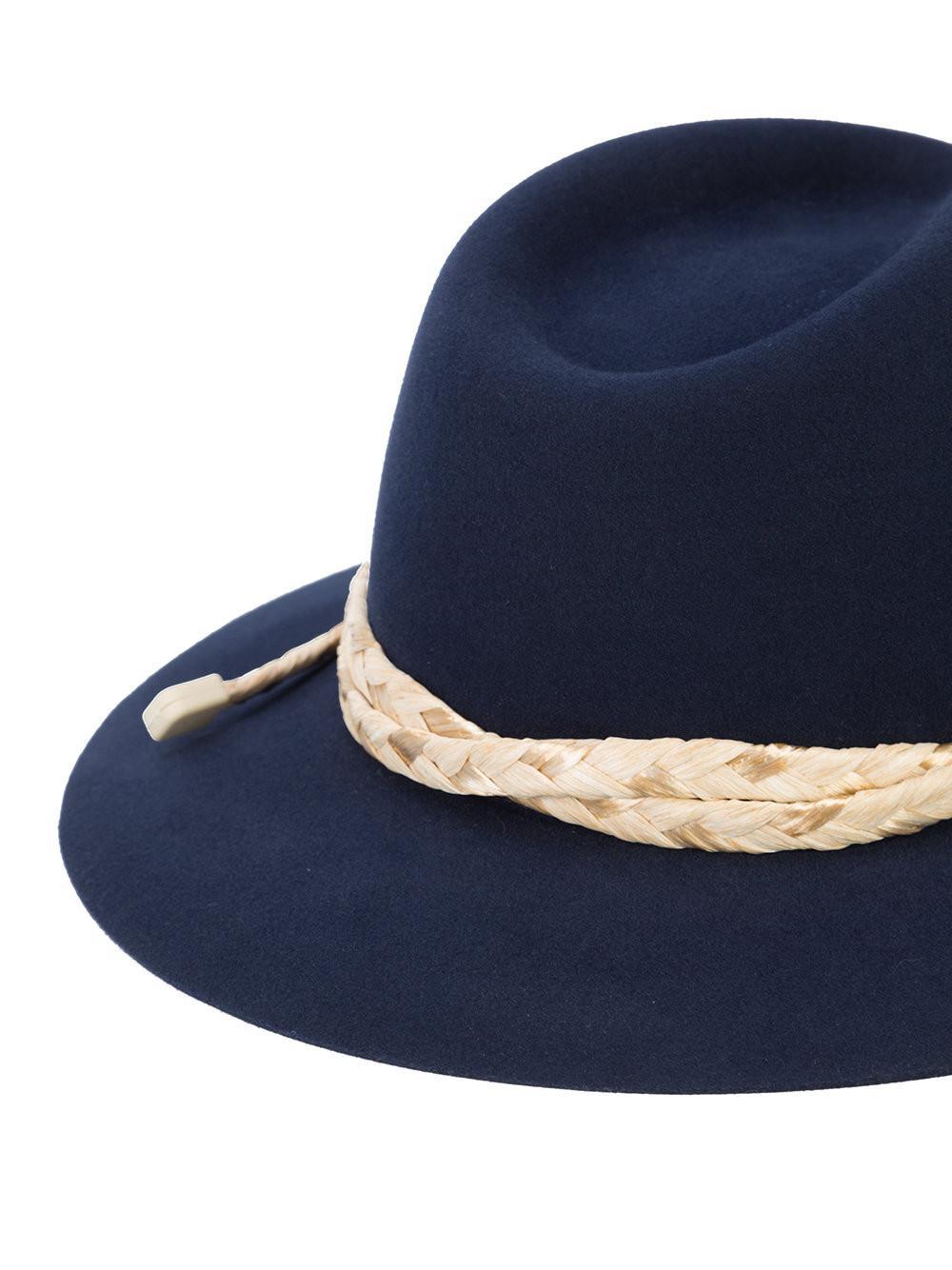 53333bb7b6e Maison Michel - Blue Rico Fedora Hat for Men - Lyst. View fullscreen