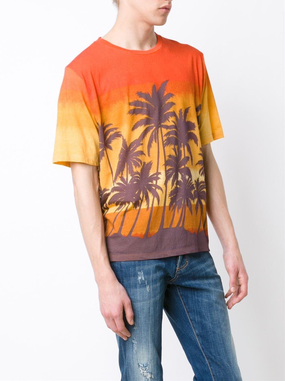 Saint laurent palm tree print t shirt for men lyst for Saint laurent t shirt