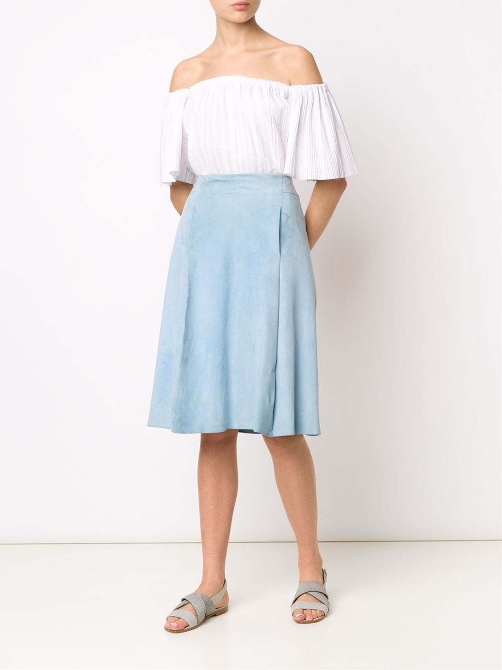 adam lippes suede midi skirt in blue light blue lyst
