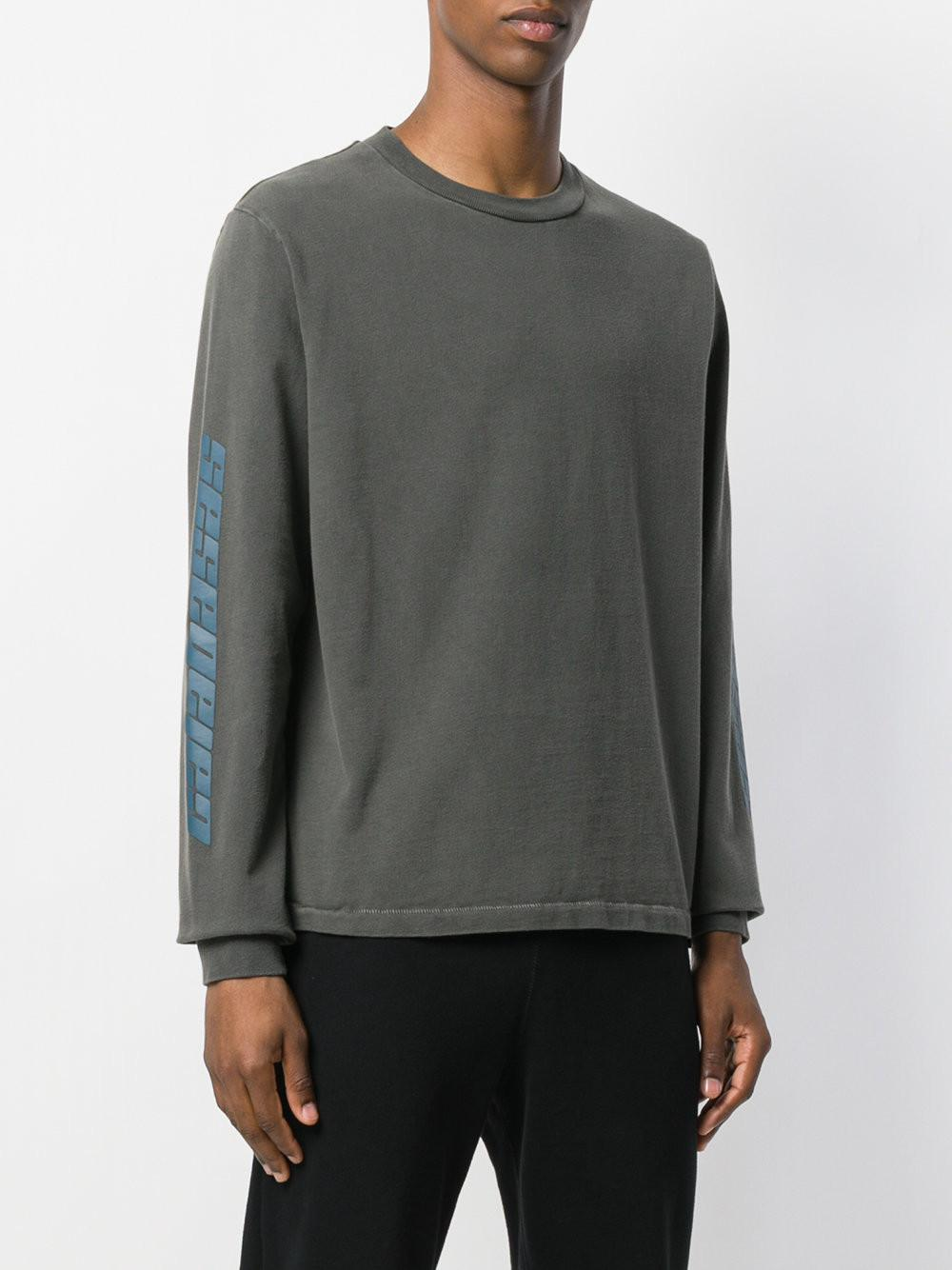 eff41650ccf399 Yeezy Season 6 Calabasas Long Sleeve T-shirt in Gray for Men - Lyst