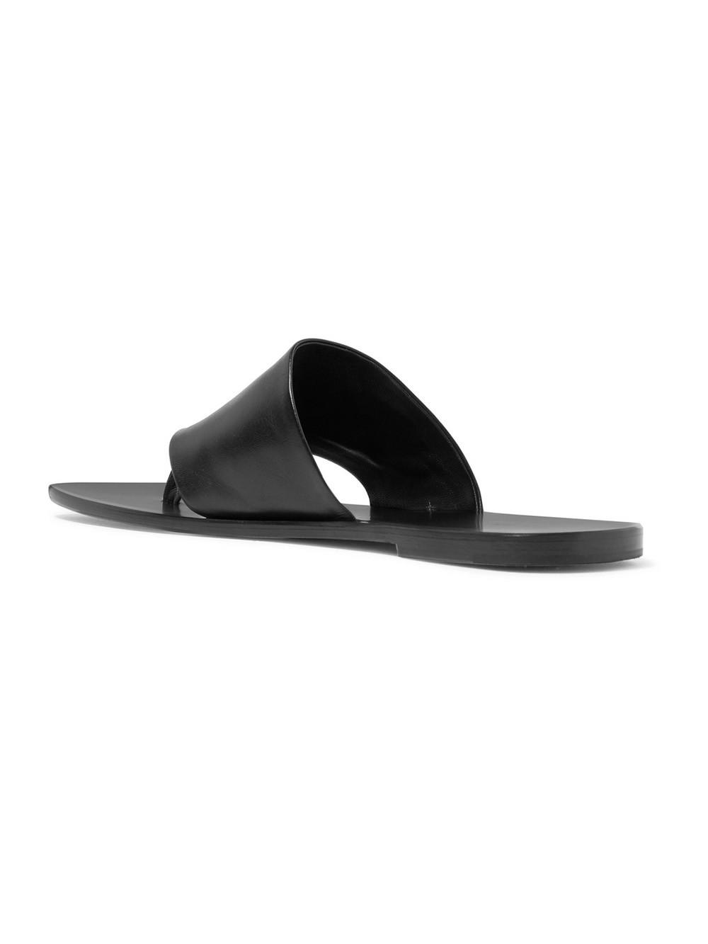 f7069abb468f Lyst - The Row Flip Flop Leather Sandals in Black