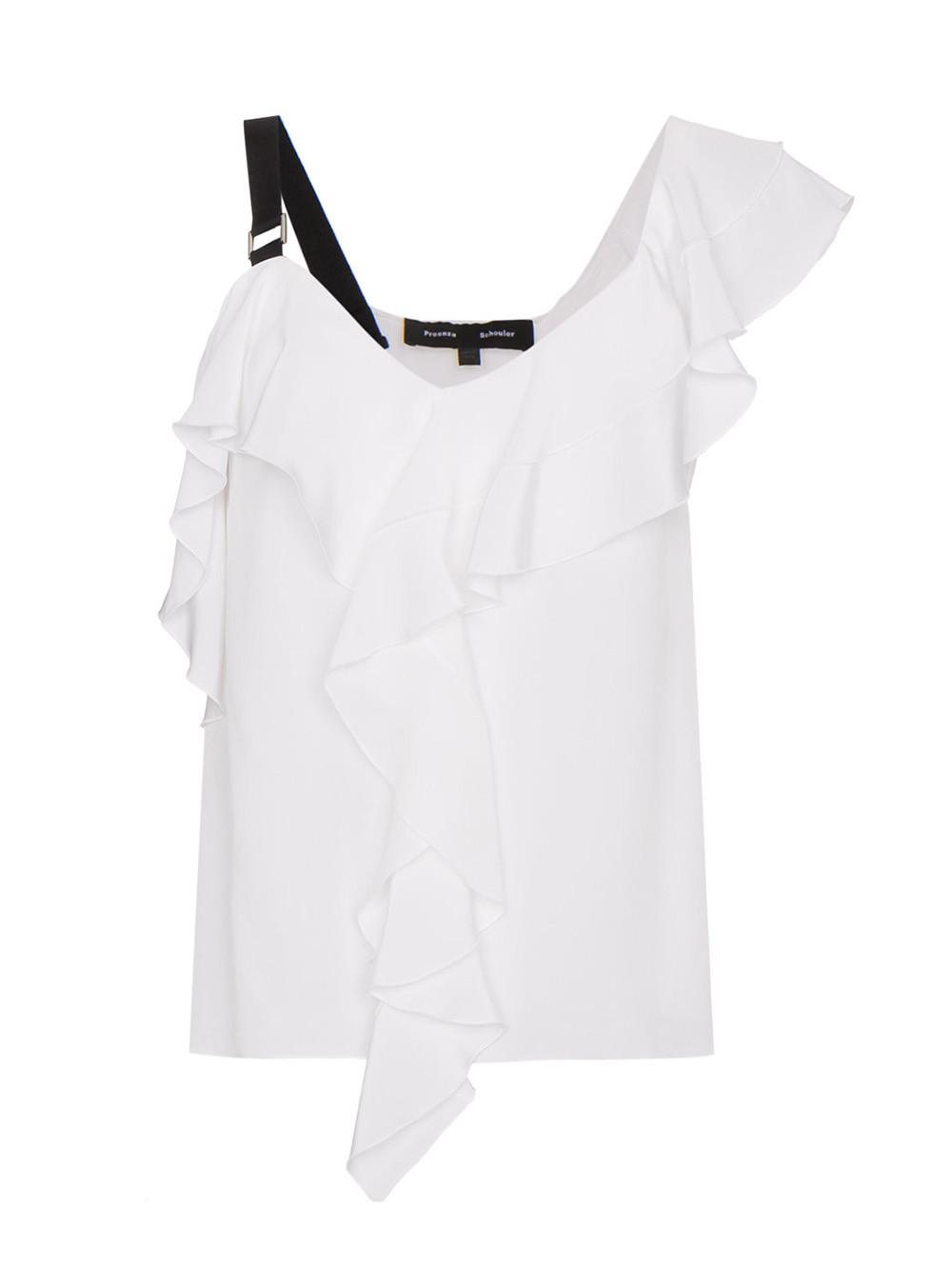 eb7767a0b071a Lyst - Proenza Schouler Ruffle One-shoulder Top in White - Save 50%