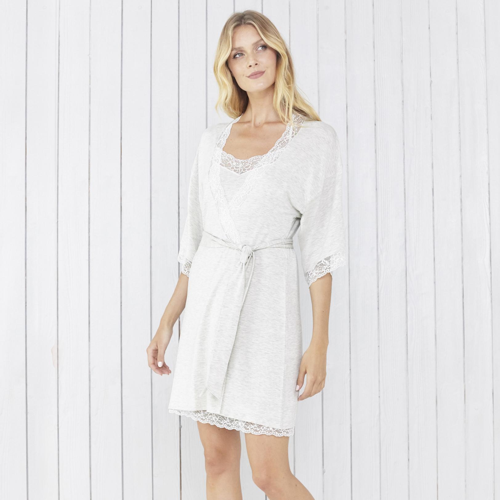 6bae05491259 Lyst - The White Company Eyelash Lace Trim Short Robe in White