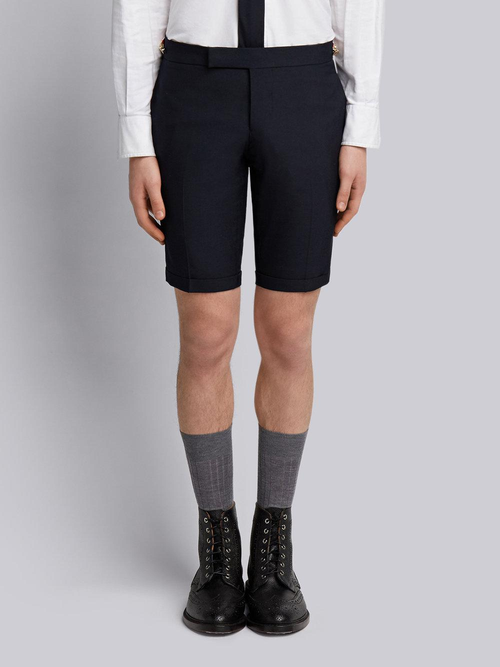 Low Rise Skinny Short With Red, White And Blue Selvedge Back Leg Placement In School Uniform Plain Weave Thom Browne