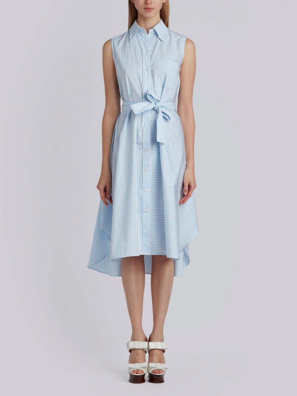 Sleeveless A-line Belted Shirtdress With Funmix Stripe Placement In University Stripe Poplin - Blue Thom Browne Eg2twtcw