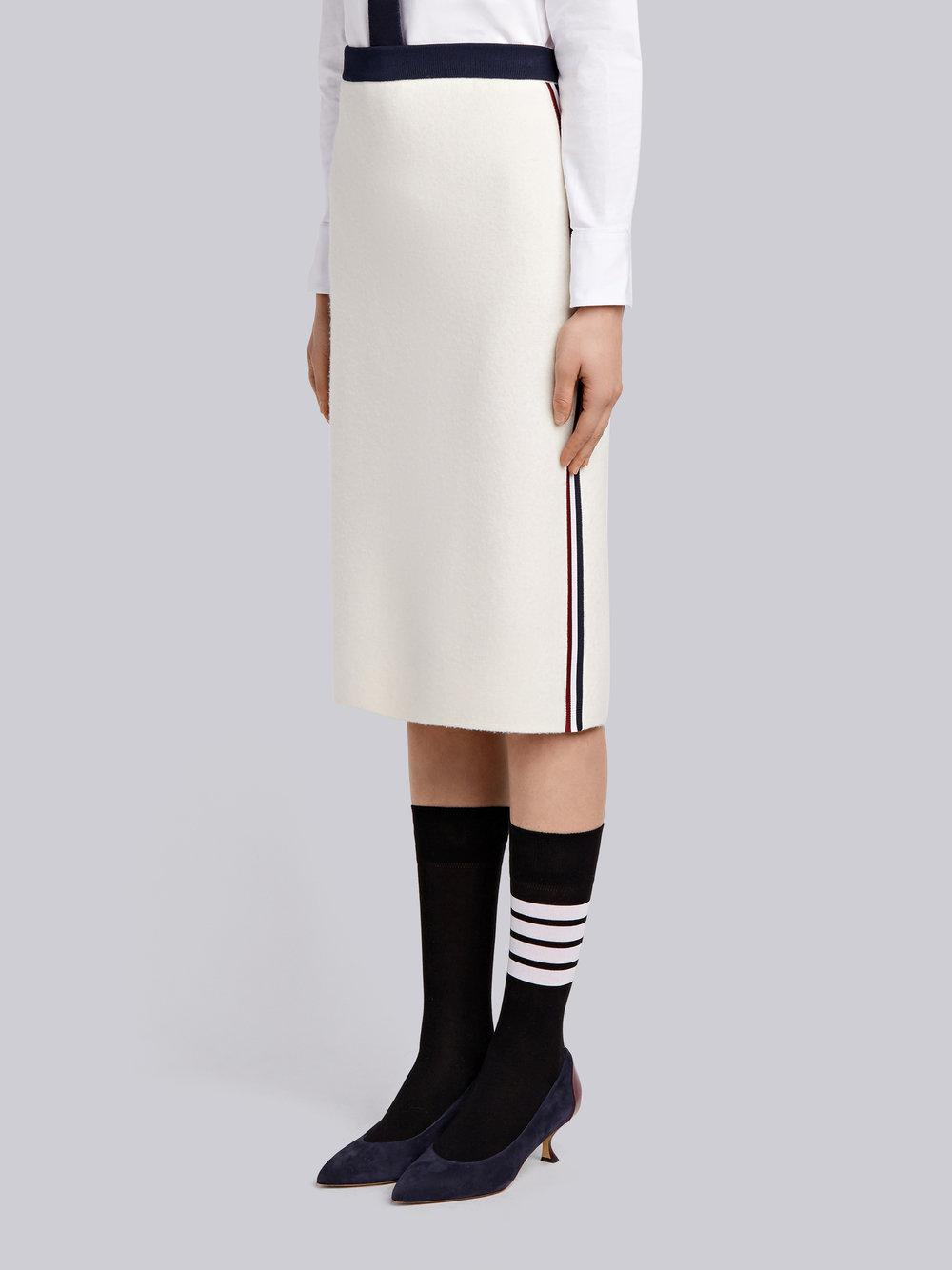 0fb5cd075a44ce Lyst - Thom Browne Vertical Stripe Wool Pencil Skirt in White