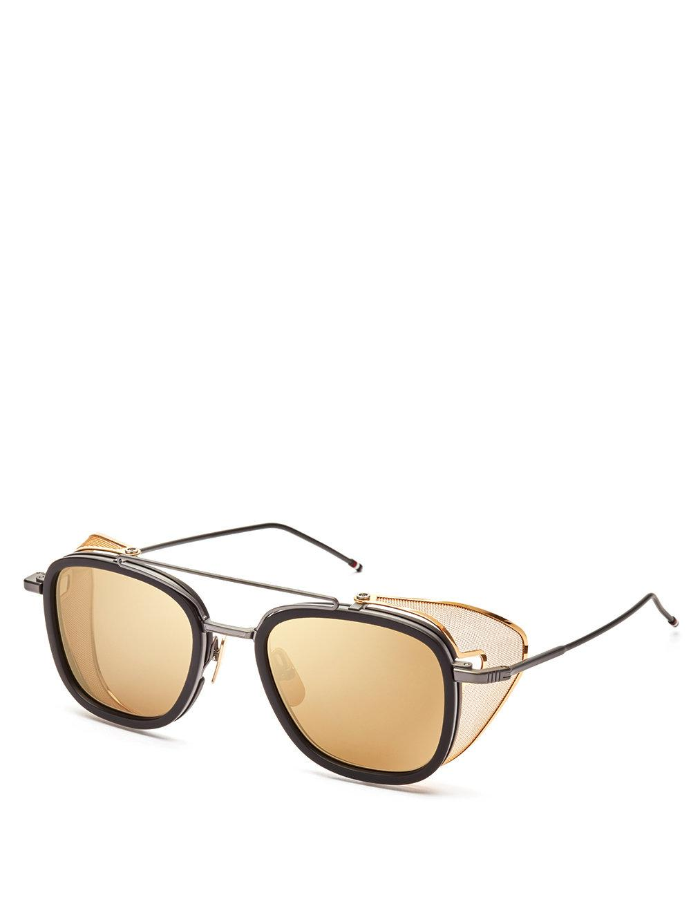 Thom Browne Eyewear Gold & Brown Aviator Sunglasses Buy Cheap Really Cheap Amazon Outlet Best Sale NgB7fS6oW